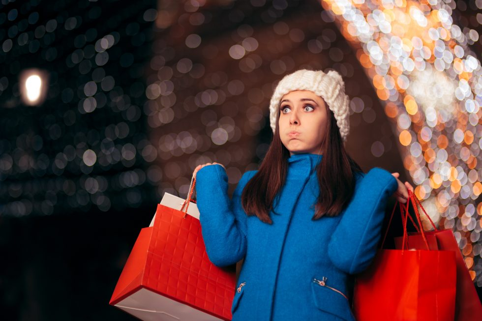 Overwhelmed Female Holiday Shopper