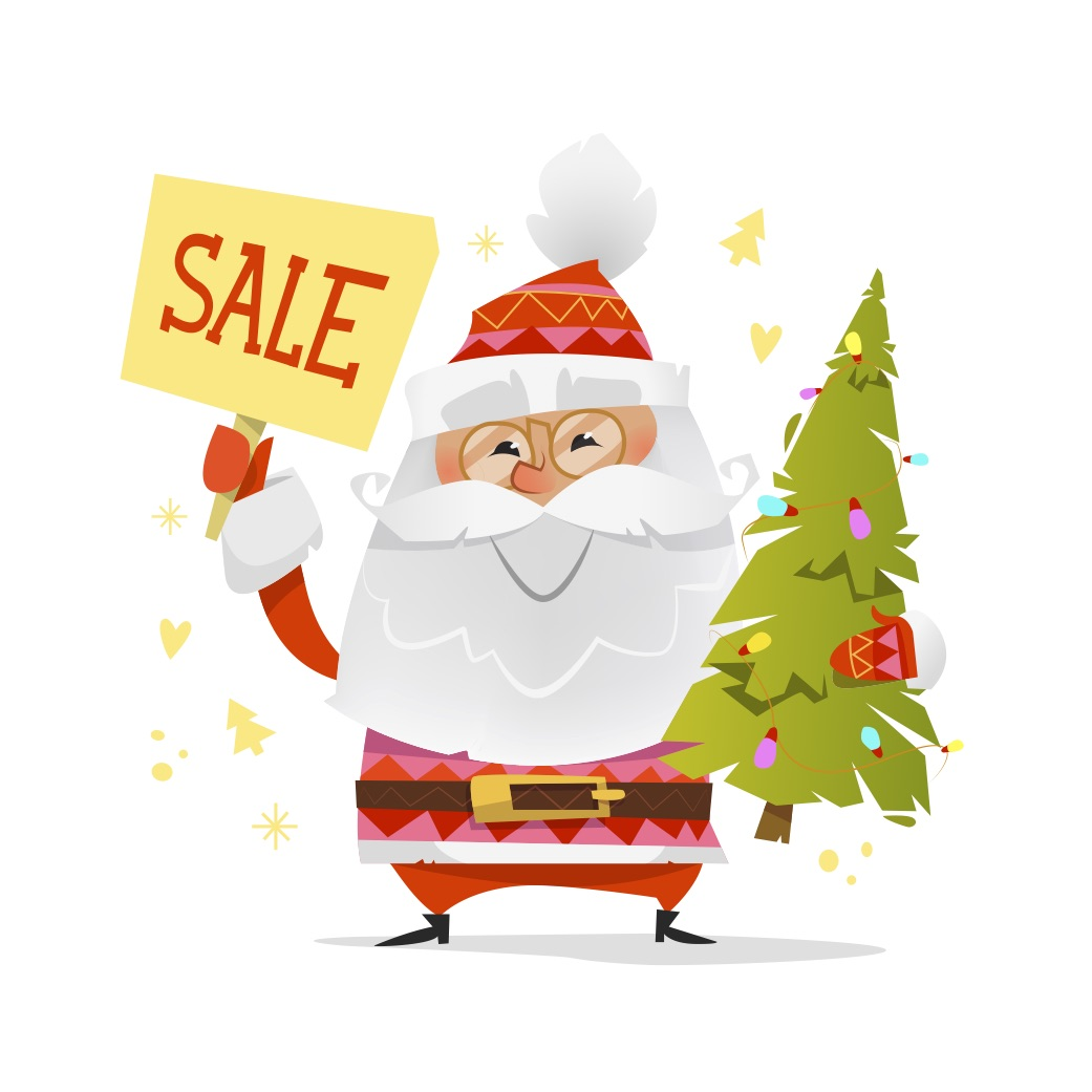 Santa with Sale Sign