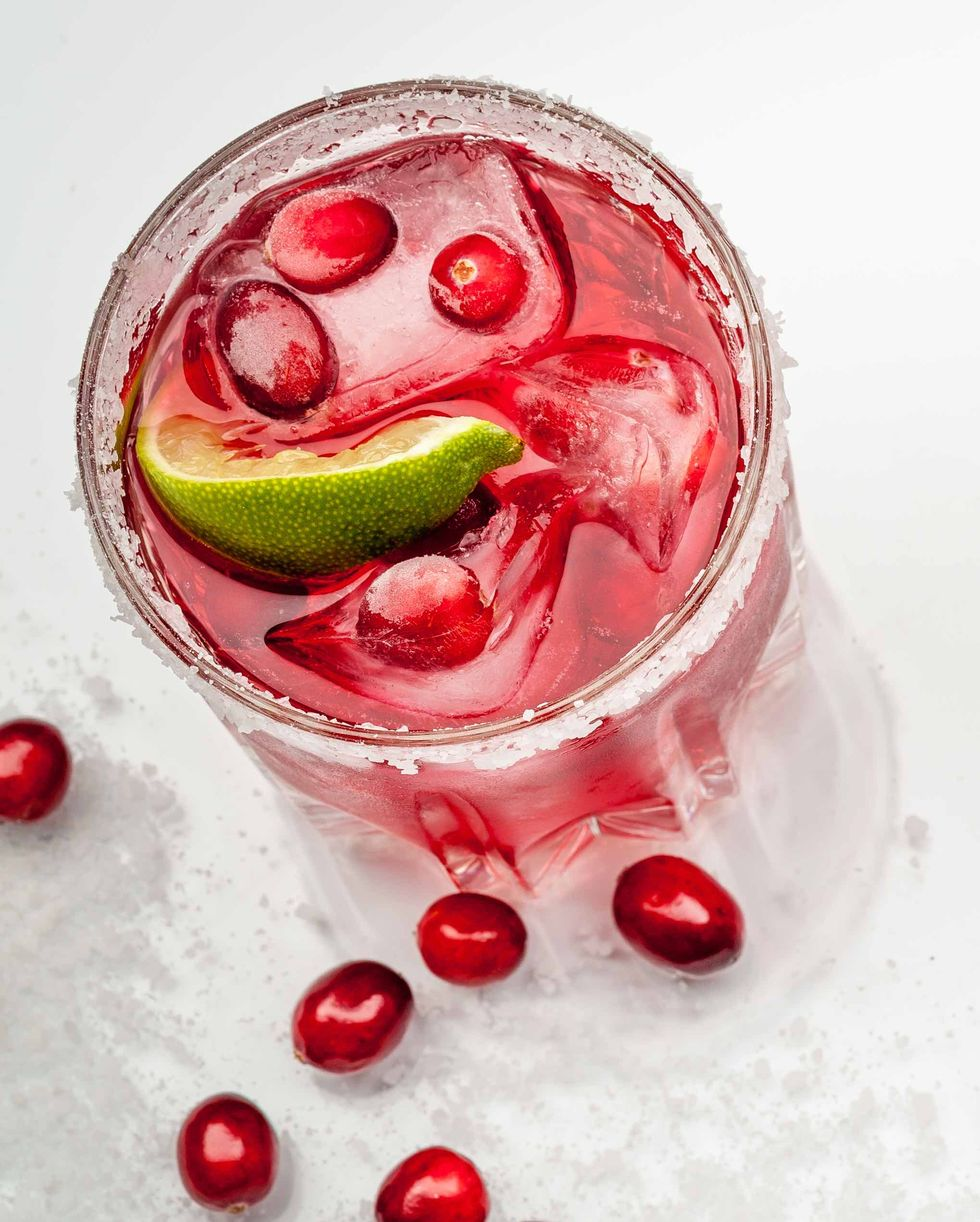 cranberry margarita in glass holiday cocktail