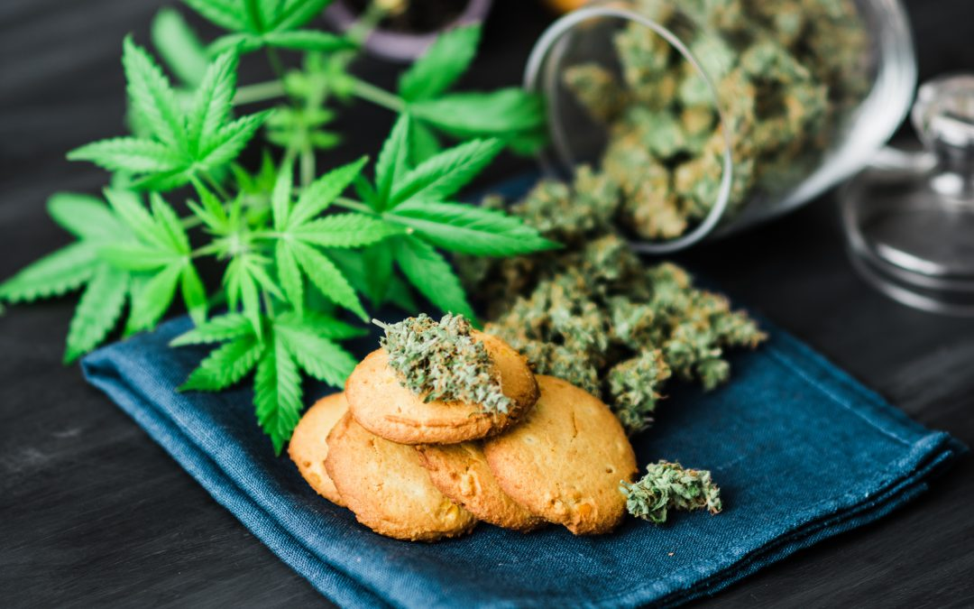 cannabis cookies and leaves on tray, cannabis advertising