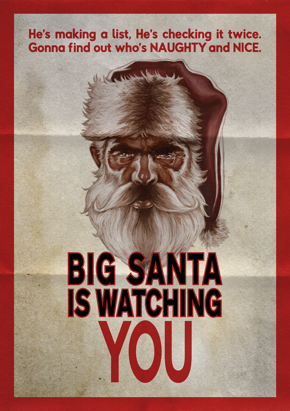 santa is watching you poster hoiday advertising